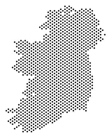 Pixel Ireland Island map. Vector territorial scheme. Cartographic concept of Ireland Island map constructed with small spheres.