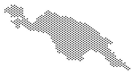 Pixel New Guinea Island map. Vector territorial plan. Cartographic pattern of New Guinea Island map designed with small circles.