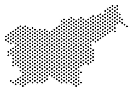 Dot Slovenia map. Vector territory plan. Cartographic composition of Slovenia map combined from circle elements.
