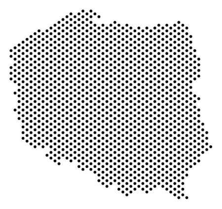 Kropkowana mapa Polski. Plan geograficzny wektor. Kompozycja kartograficzna mapy Polski zbudowanej z elementów okrągłych.
