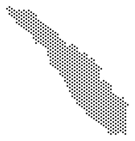 Pixel Sumatra Island map. Vector geographic scheme. Cartographic composition of Sumatra Island map formed of small spheres.