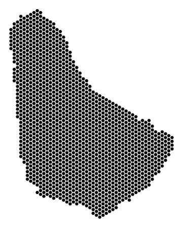 Honeycomb Barbados map. Vector territorial scheme on a white background. Abstract Barbados map collage is combined of hex tile items. Illustration
