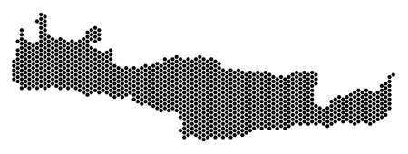 Hex Tile Crete Island map. Vector territory plan on a white background. Abstract Crete Island map composition is created of hexagonal dots. Illustration