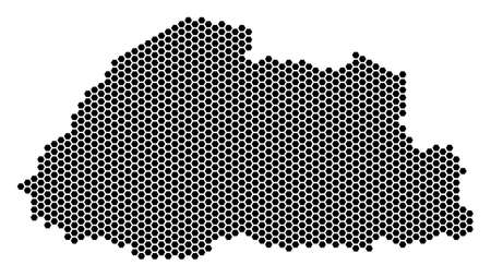 Hexagonal Bhutan map vector territory plan on a white background. Abstract Bhutan map collage is made from hex tile dots.