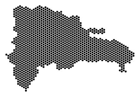Hexagonal Dominican Republic map. Vector territorial plan on a white background. Abstract Dominican Republic map composition is done with hexagonal pixels.
