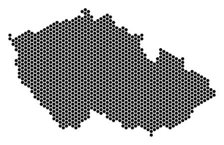 Hexagon Czech map vector territorial plan on a white background. Abstract Czech map collage is formed from honeycomb elements.
