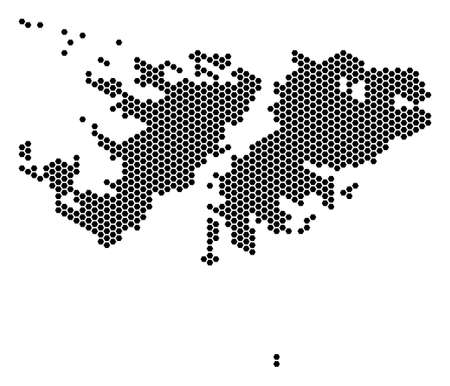 Hex tile Falkland Islands map vector territorial scheme on a white background. Abstract Falkland Islands map concept is organized of hex tile elements.