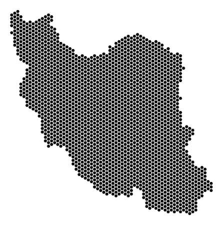 Hex-Tile Iran map. Vector geographic plan on a white background. Abstract Iran map collage is made with hex-tile spots.