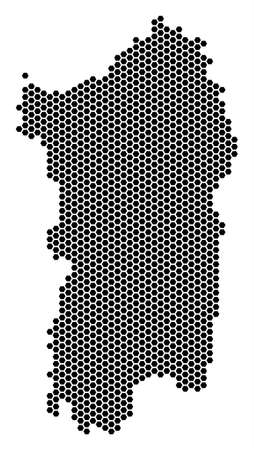 Honeycomb Italian Sardinia Island map vector geographic plan on a white background. Abstract Italian Sardinia Island map collage is created with honeycomb dots.