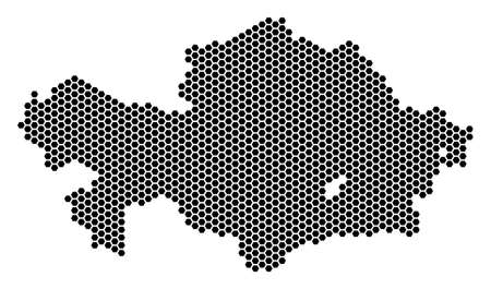Hexagon Kazakhstan map vector territory plan on a white background. Abstract Kazakhstan map collage is organized with hexagonal pixels.