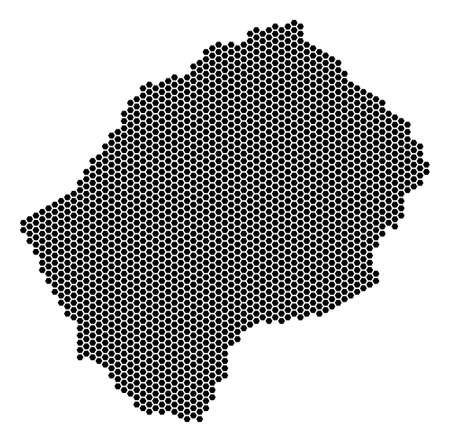Hexagonal Lesotho map. Vector territory plan on a white background. Abstract Lesotho map mosaic is combined of hexagonal elements. Illustration