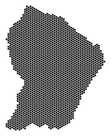 Hex Tile French Guiana map. Vector territorial scheme on a white background. Abstract French Guiana map concept is made of honeycomb elements.