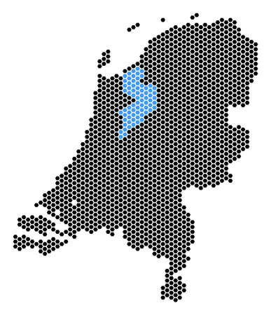 Hex Tile Netherlands map. Vector territorial scheme on a white background. Abstract Netherlands map mosaic is created of honeycomb items. Illustration