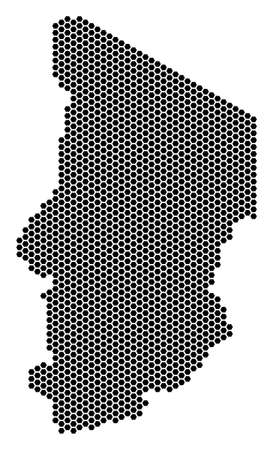 Honeycomb Chad map. Vector territory scheme on a white background. Abstract Chad map composition is created of hex-tile elements. Иллюстрация
