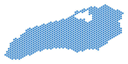 Hex Tile Ontario Lake map. Vector territory scheme on a white background. Abstract Ontario Lake map composition is created with hexagonal elements. Illustration