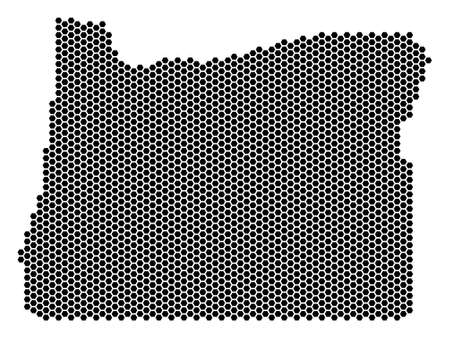 Hex-Tile Oregon State map. Vector territorial scheme on a white background. Abstract Oregon State map concept is designed of hex-tile pixels.