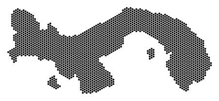 Hex-Tile Panama map. Vector territorial scheme on a white background. Abstract Panama map collage is organized of hexagon pixels.