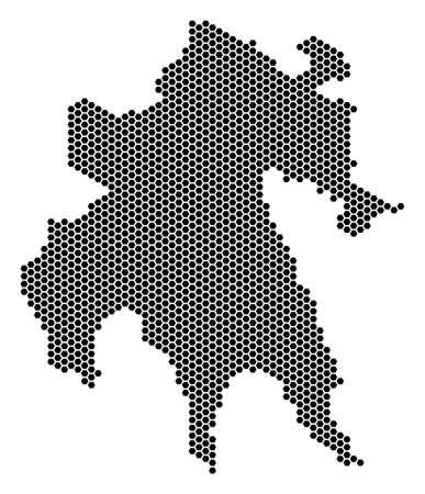 Hexagonal Peloponnese Peninsula map
