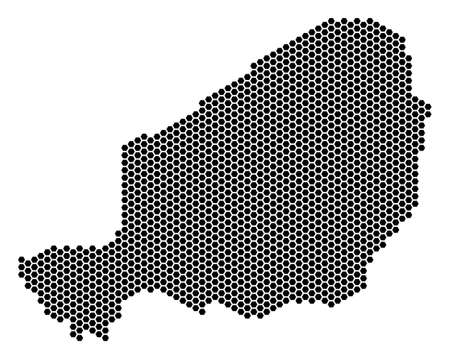 Hex-Tile Niger map. Vector territory scheme on a white background. Abstract Niger map mosaic is formed with honeycomb dots.