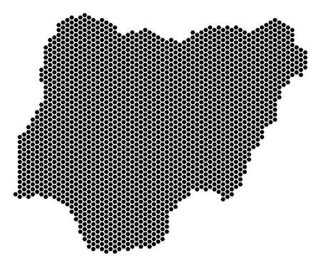 Hexagonal Nigeria map. Vector territory scheme on a white background. Abstract Nigeria map collage is created with honeycomb dots.  イラスト・ベクター素材