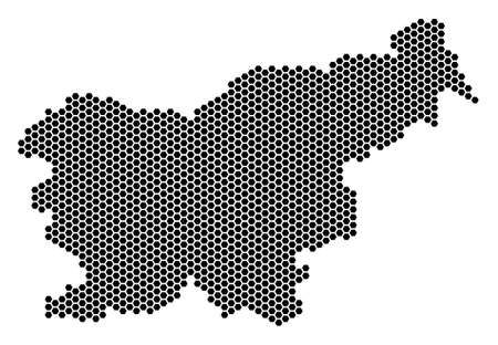 Hex Tile Slovenia map. Vector geographic plan on a white background. Abstract Slovenia map collage is combined from honeycomb items.
