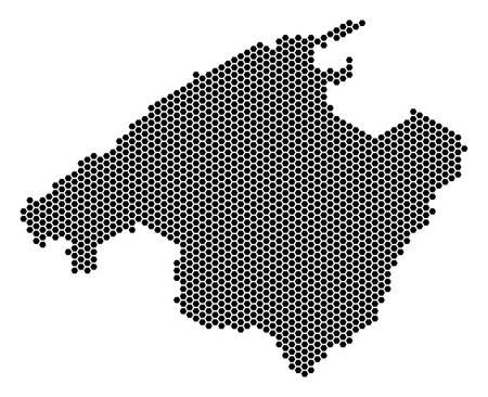 Honeycomb Spain Mallorca Island map. Vector territory plan on a white background. Abstract Spain Mallorca Island map mosaic is composed of honeycomb pixels.