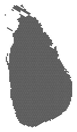 Hex tile Sri Lanka Island map vector territory scheme on a white background. Abstract Sri Lanka Island map composition is organized from hexagonal spots.