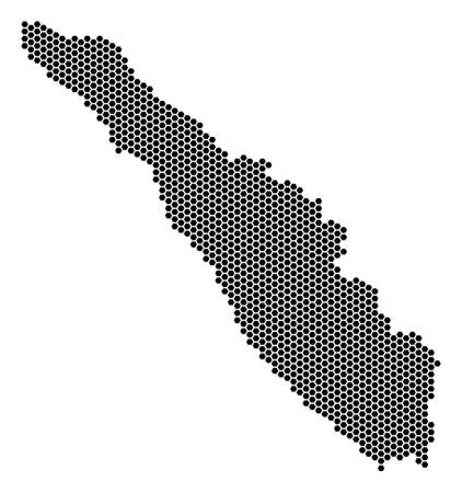 Hexagon Sumatra Island map vector territory plan on a white background. Abstract Sumatra Island map composition is created from hexagon dots.