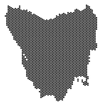 Hexagon Tasmania Island map vector territory plan on a white background. Abstract Tasmania Island map collage is composed from hexagonal pixels.
