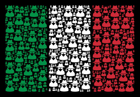 Italy official flag flat mosaic done from spy icons on a black background. Vector spy symbols are composed into abstract Italian flag abstraction. Natioan mafia persons.
