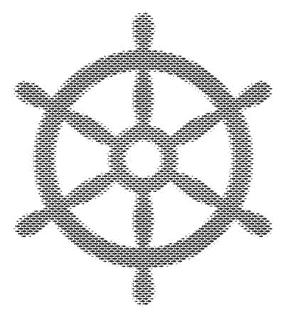 Fish boat steering wheel halftone mosaic. Vector fish symbols are shaped into boat steering wheel collage. Seafood design concept.