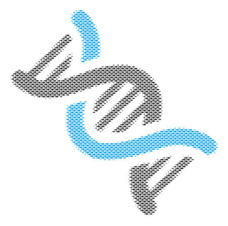 Fish DNA spiral halftone collage. Vector fish pictograms are organized into DNA spiral composition. Ocean design concept.