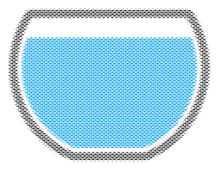 Fish water bowl halftone mosaic. Vector fish items are grouped into water bowl collage. Nautical design concept. Illustration