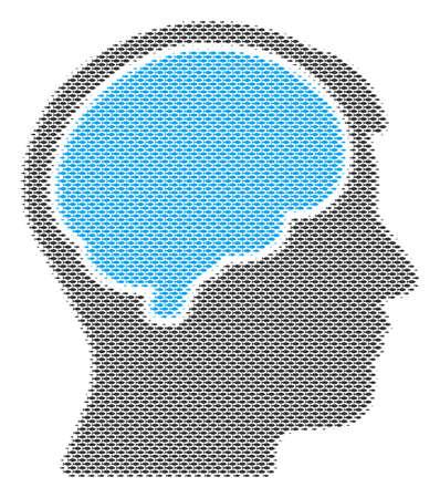 Fish head brain halftone mosaic. Vector fish items are grouped into head brain composition. Ocean design concept. Illustration