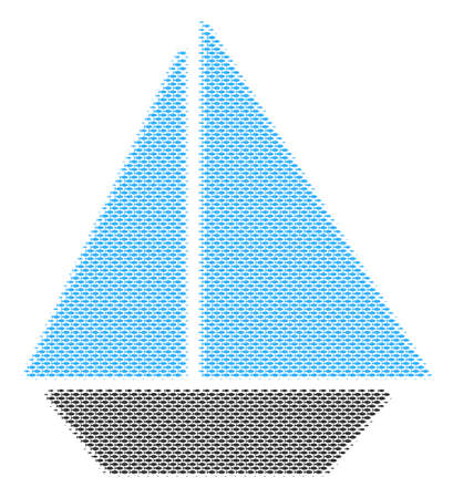 Fish yacht halftone collage. Vector fish icons are composed into yacht illustration. Eco design concept.