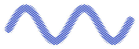 Fish sinusoid wave halftone composition. Vector fish pictograms are organized into sinusoid wave collage. Nautical design concept. Vettoriali