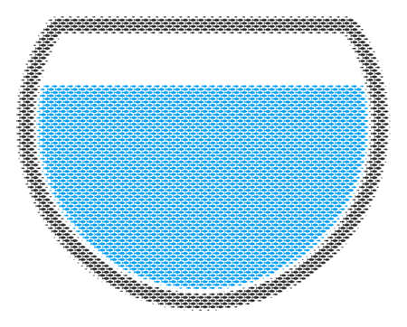 Fish water bowl halftone mosaic. Vector fish items are grouped into water bowl mosaic. Ocean design concept.