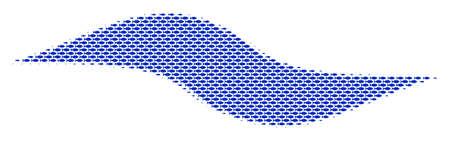 Fish wave shape halftone mosaic. Vector fish pictograms are shaped into wave shape composition. Ocean design concept.