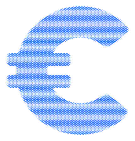 Fish Euro halftone composition. Vector fish items are grouped into Euro mosaic. Seafood design concept.