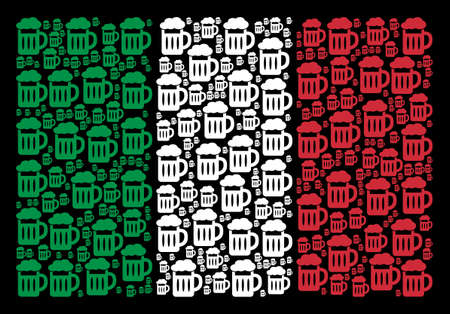 Italian flag flat mosaic combined with beer glass icons on a black background. Vector beer glass design elements are united into conceptual Italy flag pattern. Reklamní fotografie - 101330590