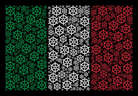 Italy national flag flat mosaic done of boat steering wheel items on a black background. Vector boat steering wheel symbols are composed into abstract Italy flag pattern.