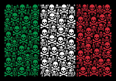 Italy flag flat composition done with death skull icons on a black background. Vector death skull symbols are grouped into conceptual Italy flag illustration. Ilustração