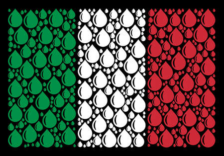 Italy national flag flat composition designed from drop icons on a black background. Vector drop objects are united into conceptual Italian flag abstraction.