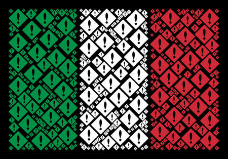 Italian state flag flat composition designed with error items on a black background. Vector error elements are united into conceptual Italian flag collage.