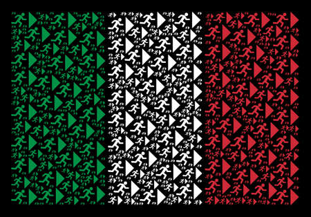 Italian flag flat collage created of exit direction icons on a black background. Vector exit direction design elements are united into conceptual Italy flag abstraction.