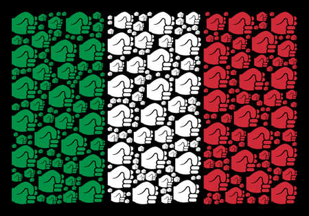Italy official flag flat composition done of fist icons on a black background. Vector fist pictograms are united into geometric Italy flag collage.