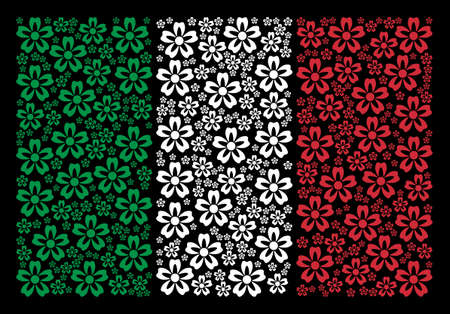 Italian official flag flat collage formed from flower items on a black background. Vector flower design elements are composed into abstract Italy flag pattern. Çizim