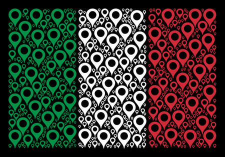 Italy flag flat composition formed with map marker icons on a black background. Vector map marker symbols are organized into geometric Italian flag abstraction.