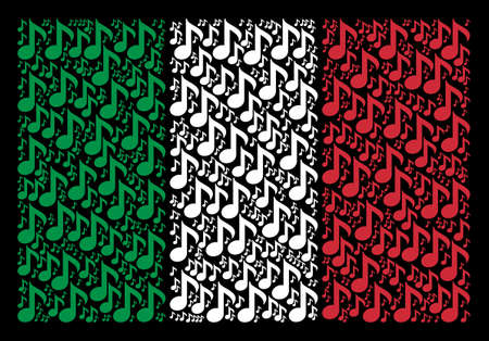 Italian flag flat mosaic created of musical note items on a black background. Vector musical note pictograms are combined into abstract Italian flag composition. Illustration