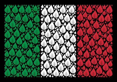 Italy official flag flat mosaic organized of plant leaf items on a black background. Vector plant leaf elements are grouped into abstract Italy flag collage.